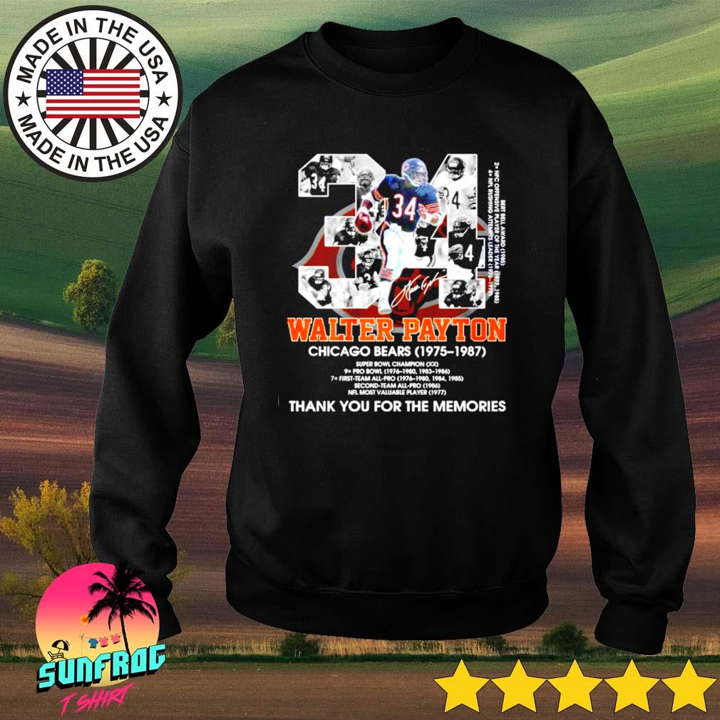 34 Walter Payton Chicago Bears 1975-1987 thank you for the memories signature s Sweater