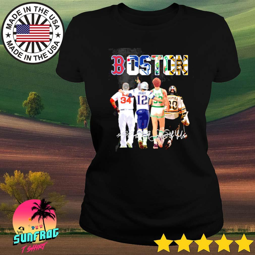 Boston David Ortiz Tom Brady Larry Bird Tim Thomas signature s Ladies tee