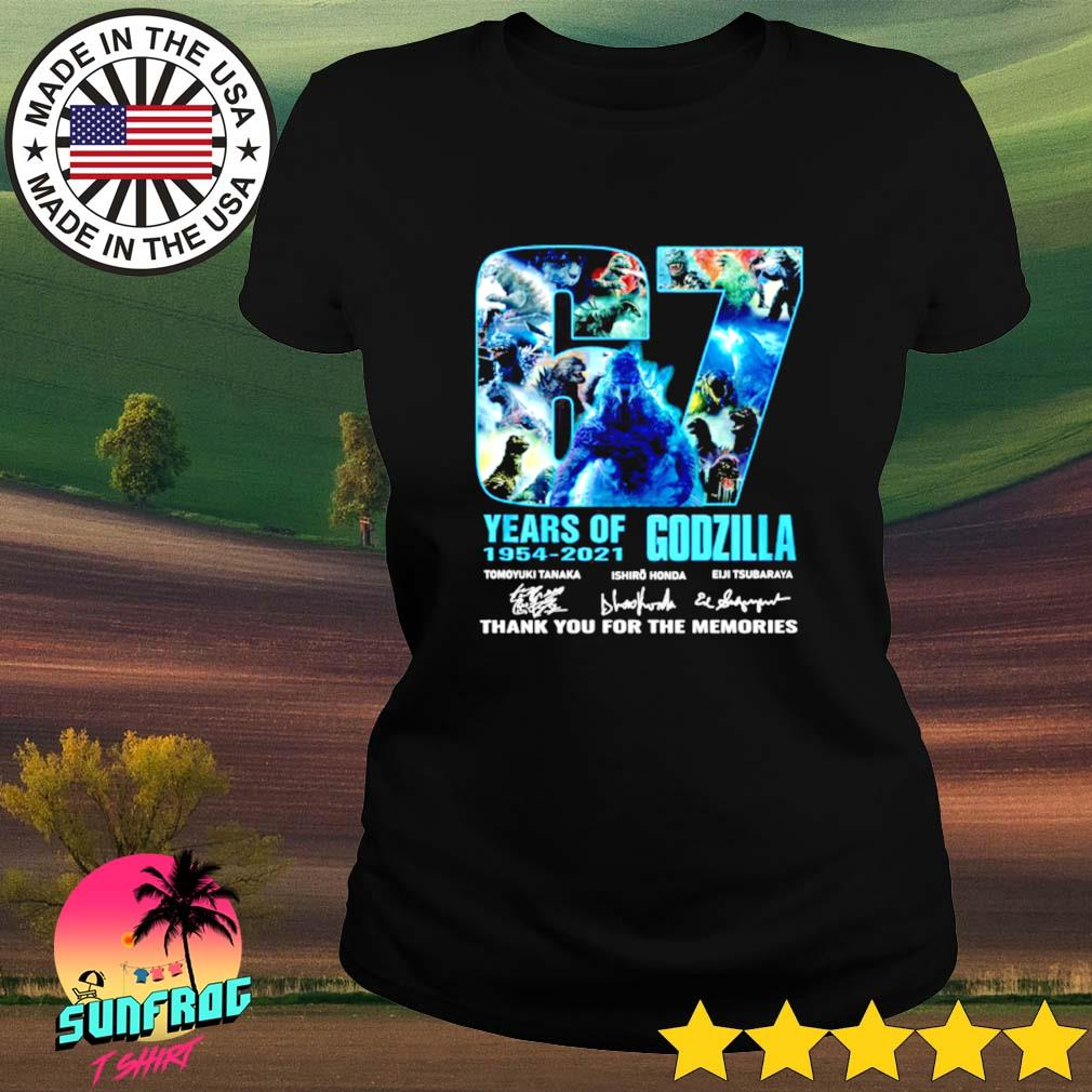 67 Years of Godzilla 1954-2021 thank you for the memories signature Ladies tee