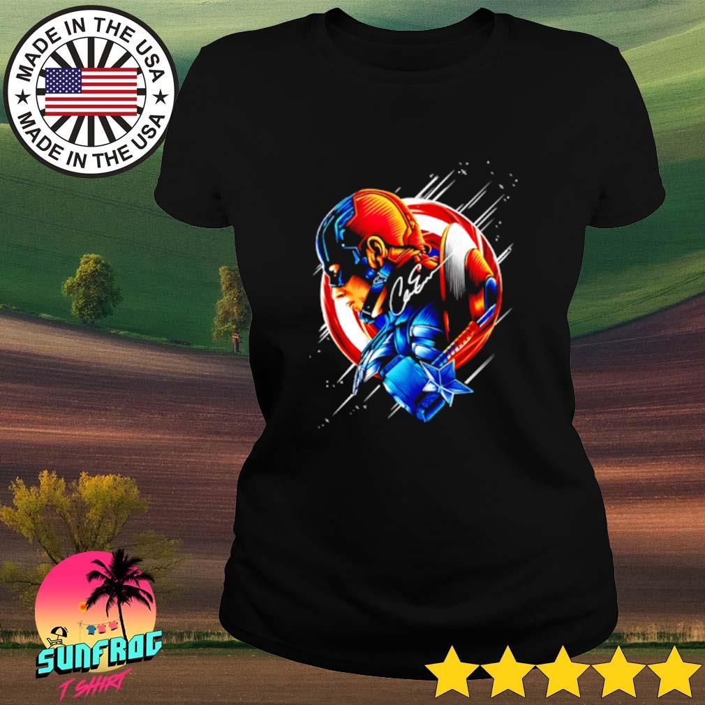 Captain America Chris Evans star light color signature Ladies tee