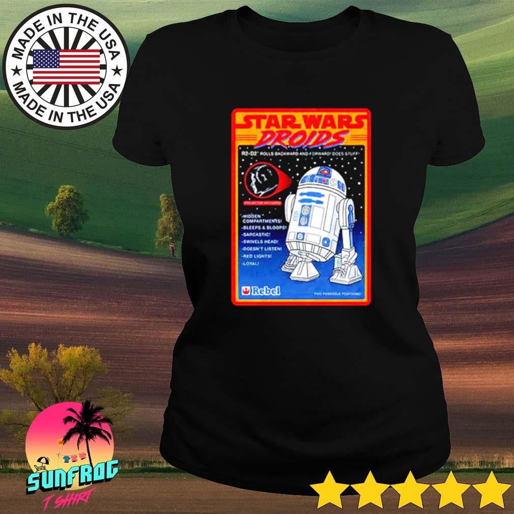 Figure Star Wars droids R2-D2 rolls backward and forward does stuff hidden compartments bleeps Ladies tee