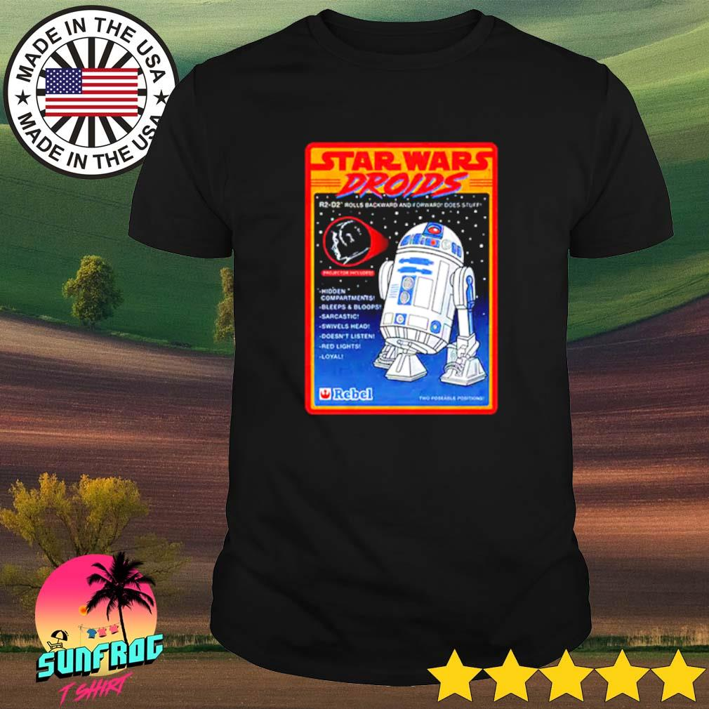 Figure Star Wars droids R2-D2 rolls backward and forward does stuff hidden compartments bleeps shirt
