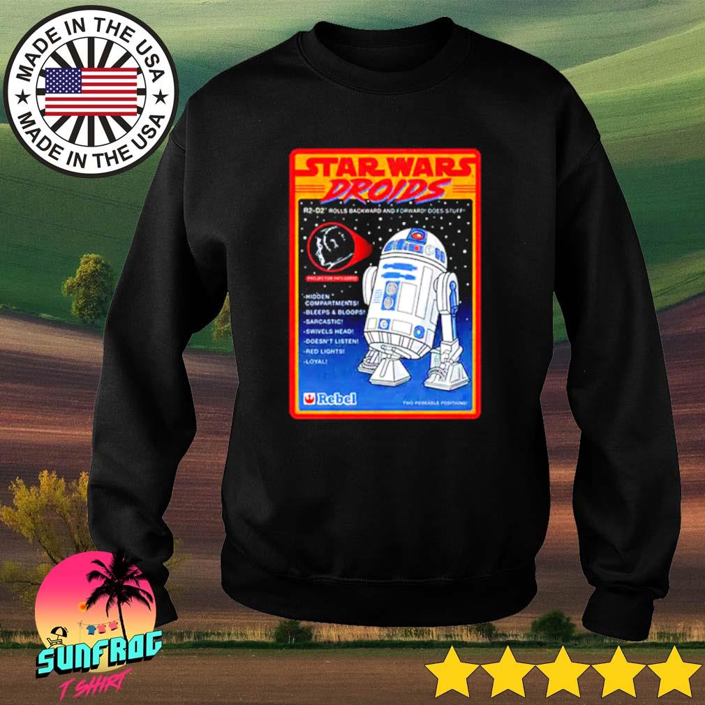 Figure Star Wars droids R2-D2 rolls backward and forward does stuff hidden compartments bleeps Sweater