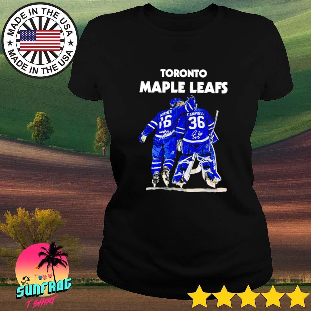 Toronto Maple Leafs Marner 16 Campbell 36 signature Ladies tee