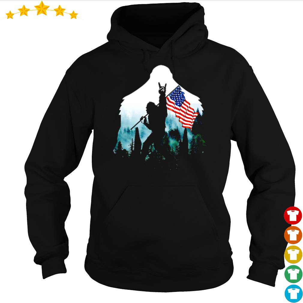 Bigfoot rock and roll American flag into the forest s hoodie