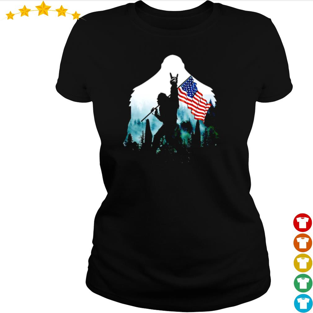Bigfoot rock and roll American flag into the forest s ladies-tee