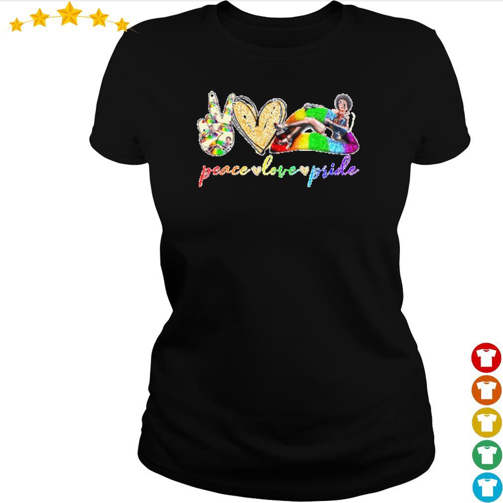 Peace love pride LGBT Lips Frank N. Furter s ladies-tee
