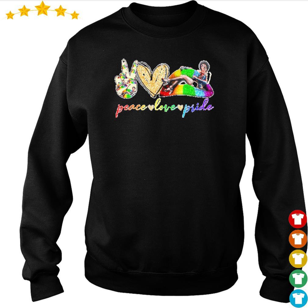 Peace love pride LGBT Lips Frank N. Furter s sweater