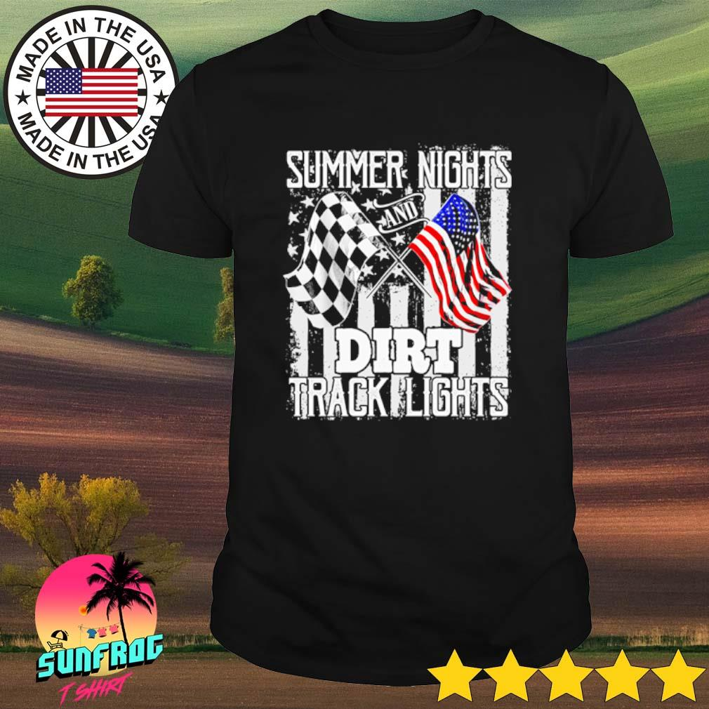 Summer Nights and Dirt Track Lights racing flag shirt