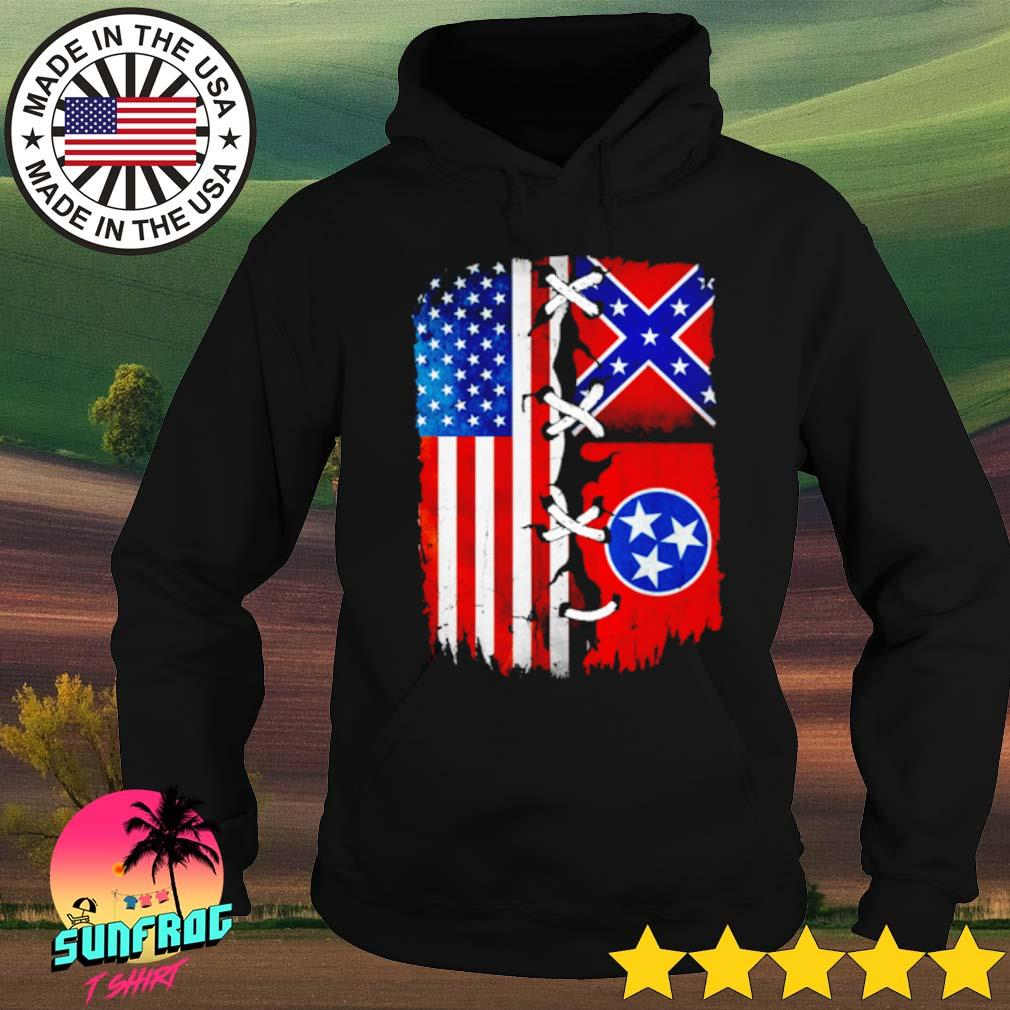 Tennessee Mississippi and American Flag s Hoodie Black