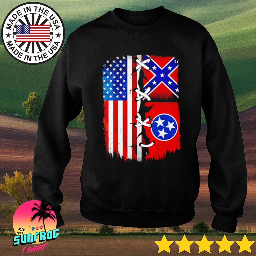 Tennessee Mississippi and American Flag s Sweater Black