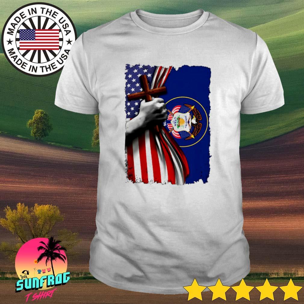 Utah American Flag cross happy independence day shirt