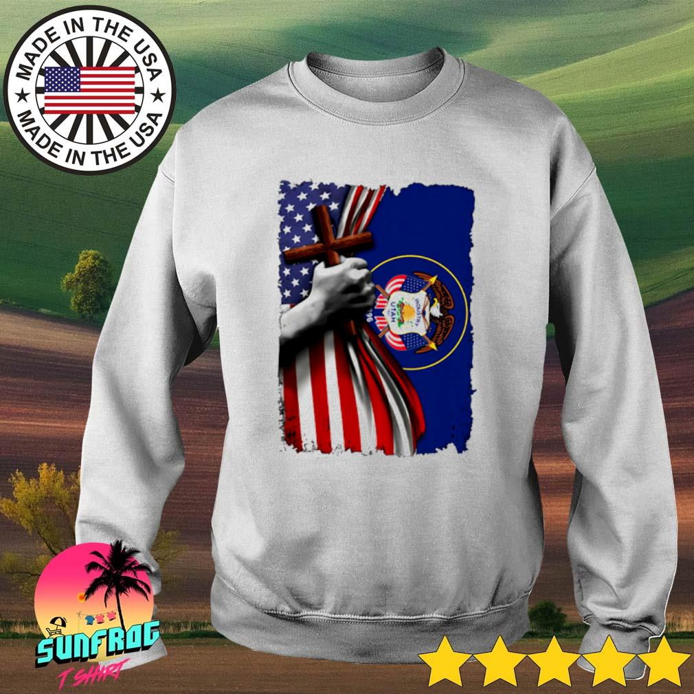 Utah American Flag cross happy independence day s Sweater White