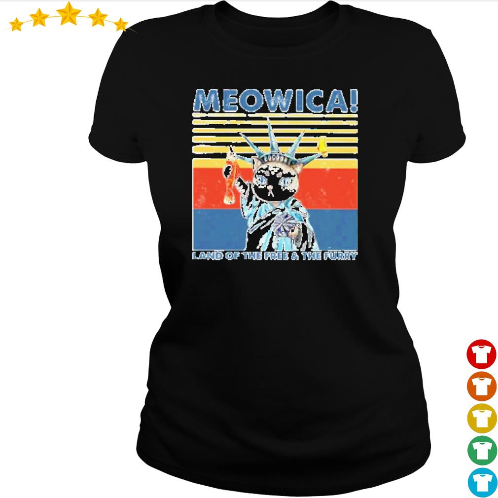 Vintage Meowica land of the free and the furry s ladies-tee