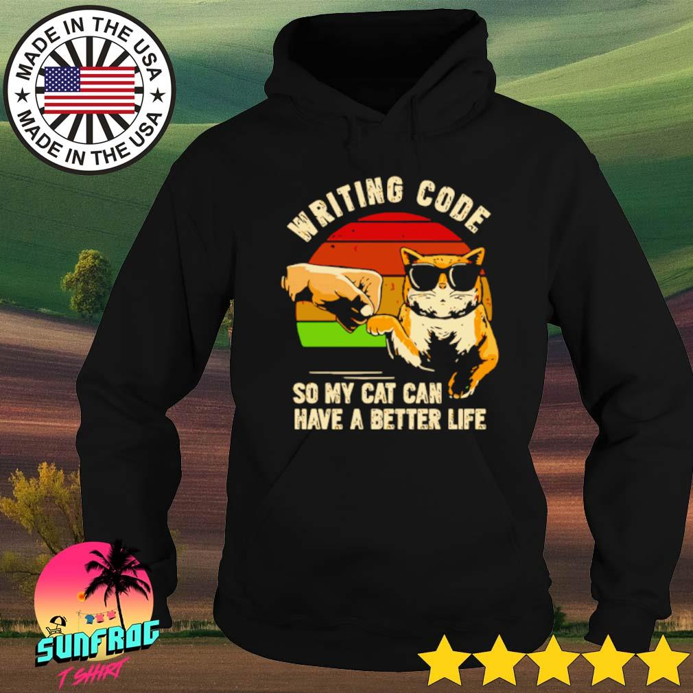 Vintage writing code so my cat can have a better life s Hoodie Black