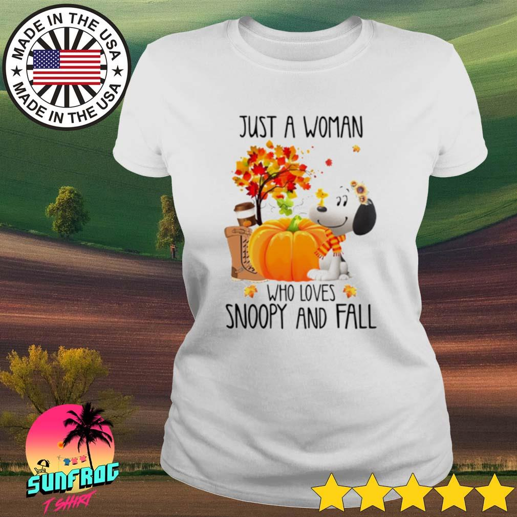 Halloween Pumpkin just a woman who loves Snoopy and fall s Ladies Tee White