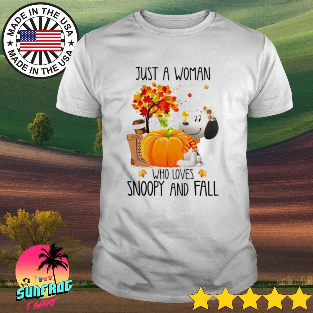 Halloween Pumpkin just a woman who loves Snoopy and fall shirt