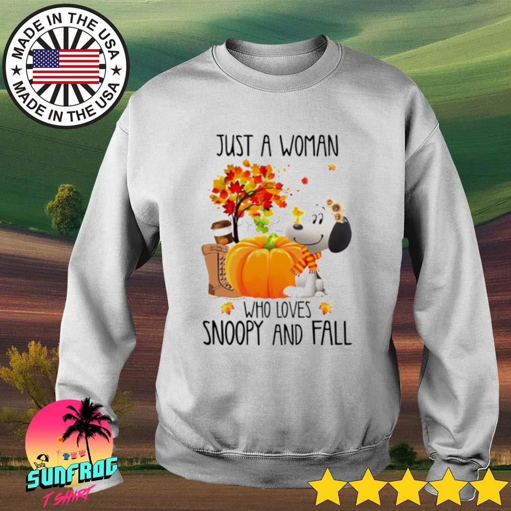 Halloween Pumpkin just a woman who loves Snoopy and fall s Sweater White