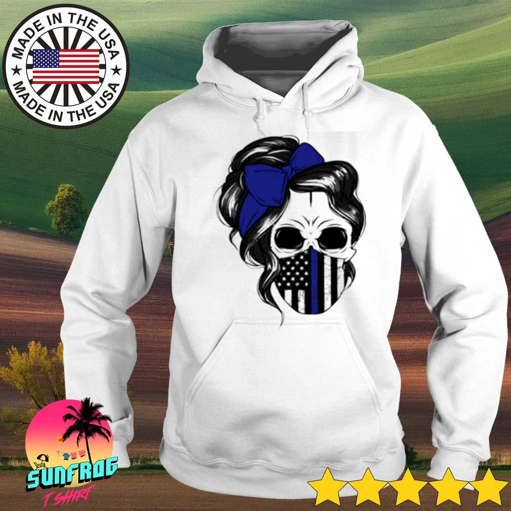 Skull Woman mask Thin Blue Line s Hoodie White