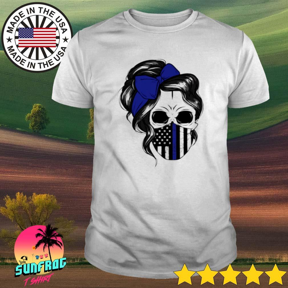 Skull Woman mask Thin Blue Line shirt