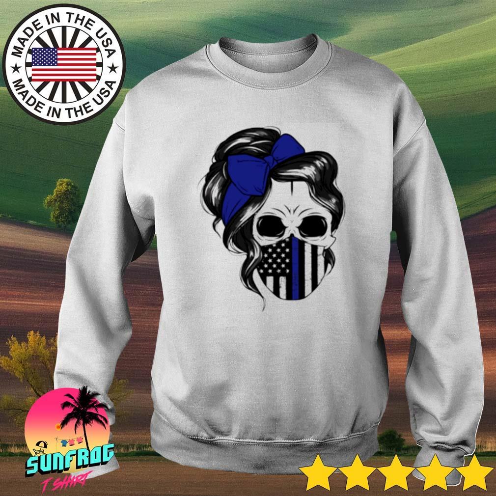 Skull Woman mask Thin Blue Line s Sweater White