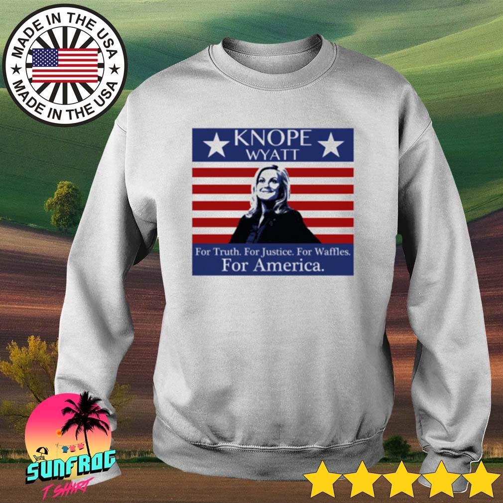 Vintage Knope Wyatt for Truth for Justice for Waffles for America s Sweater White