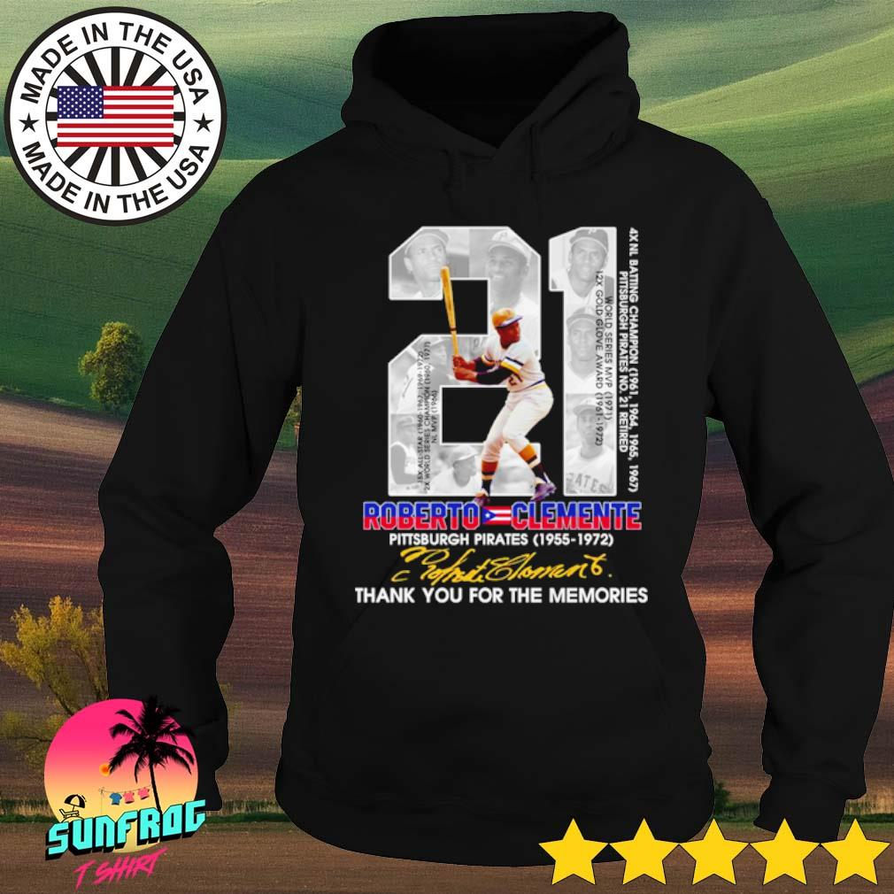 21 Roberto Clemente Pittsburgh Pirates 1955-1972 thank you for the memories signature s Hoodie Black