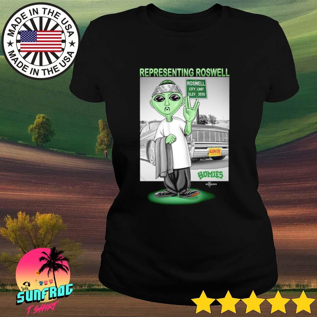 Aliens Representing roswell Homies s Ladies Tee Black