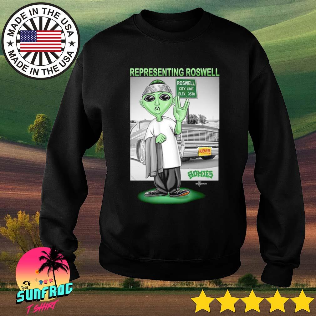 Aliens Representing roswell Homies s Sweater Black