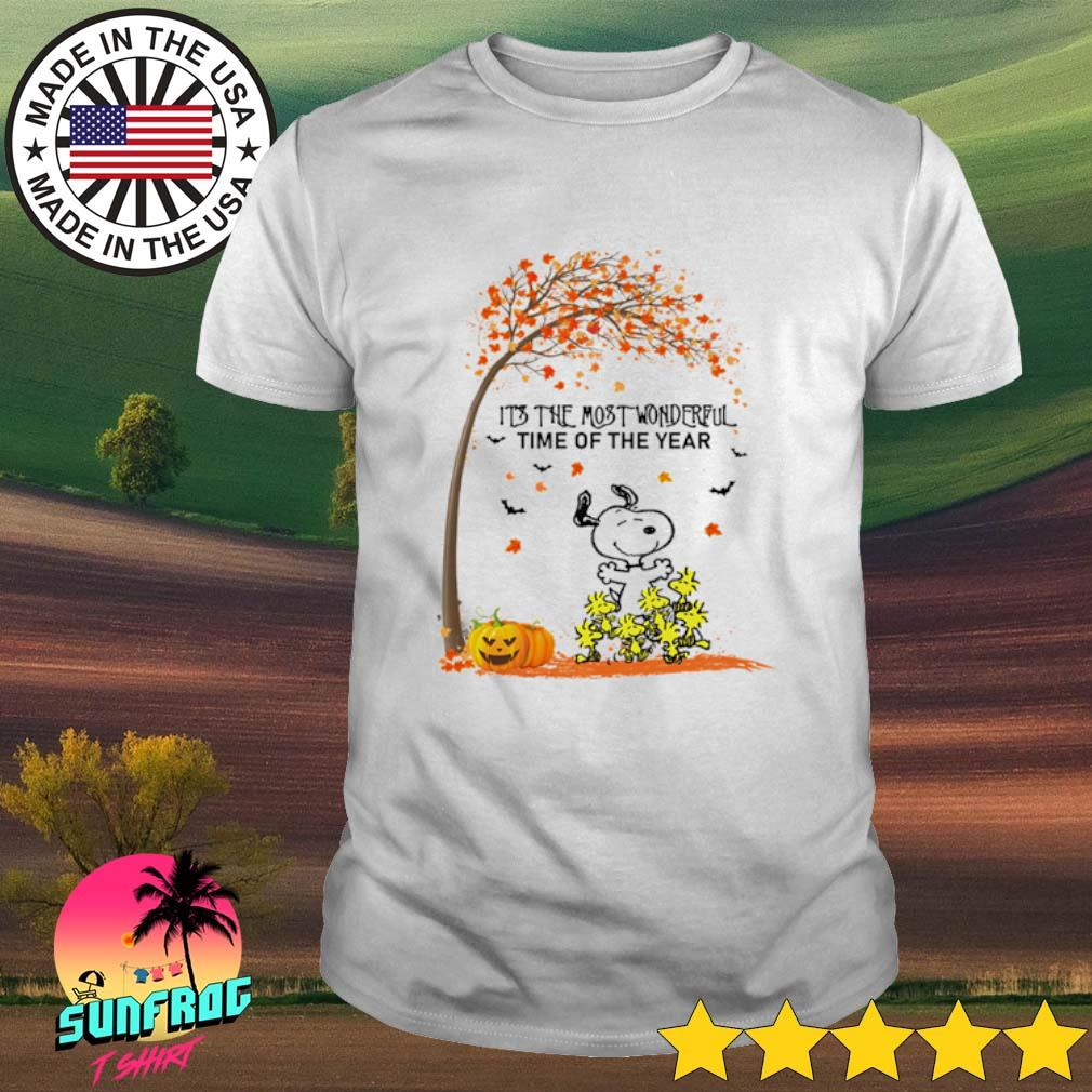 Autumn Snoopy and Woodstock It's the most wonderful time of the year shirt