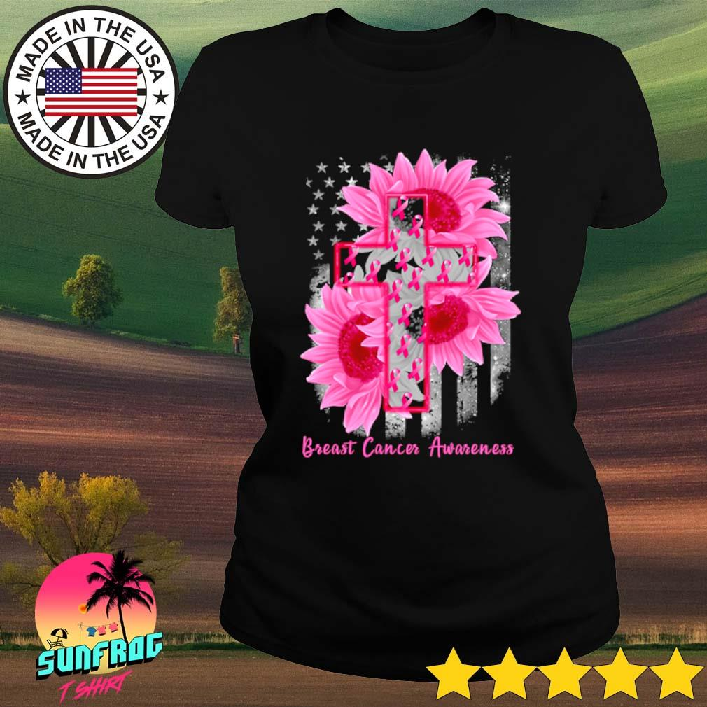 Cross Sunflower Breast Cancer Awareness pink veteran s Ladies Tee Black