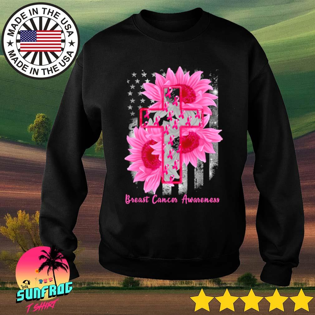 Cross Sunflower Breast Cancer Awareness pink veteran s Sweater Black