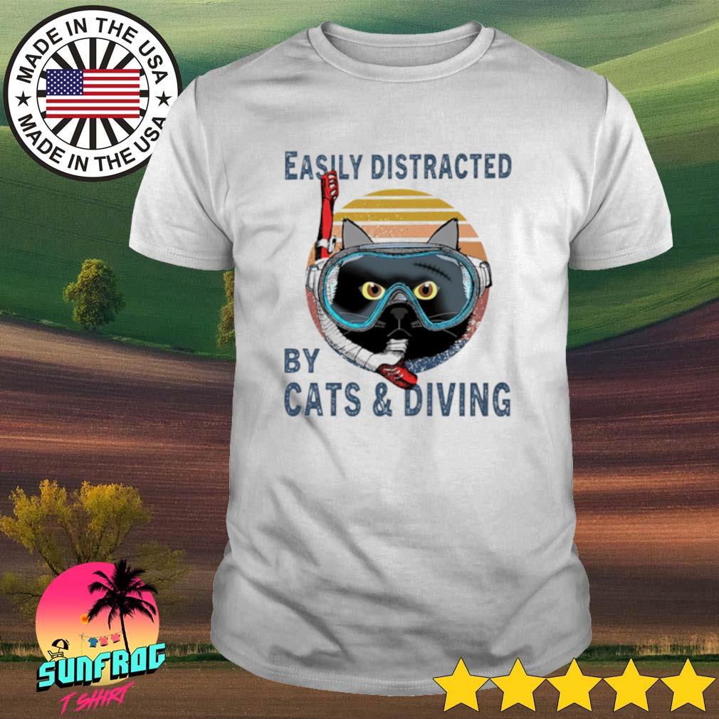 Easily distracted by cats and diving vintage shirt
