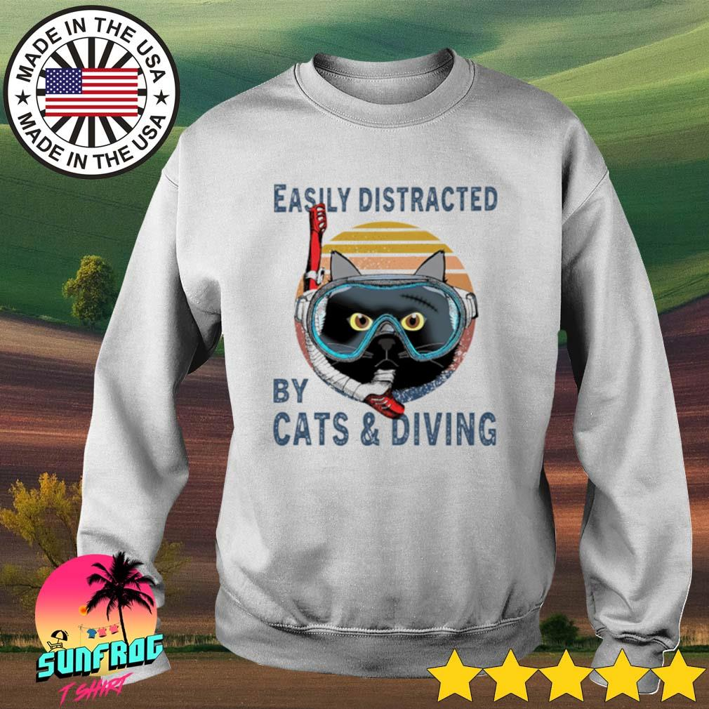 Easily distracted by cats and diving vintage s Sweater White