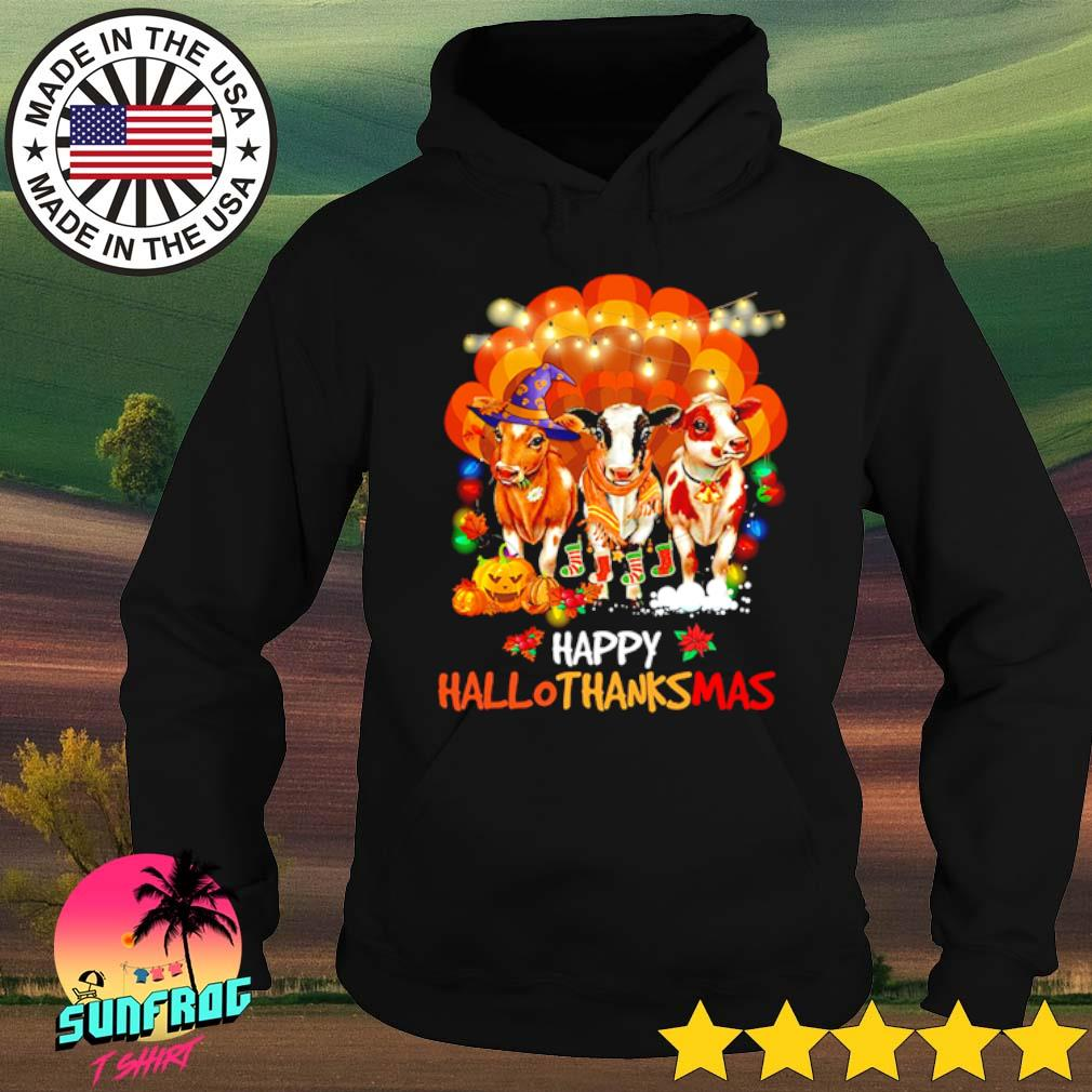 Pearl shell Cows Happy Hallothanksmas Halloween Thanksgiving Christmas s Hoodie Black