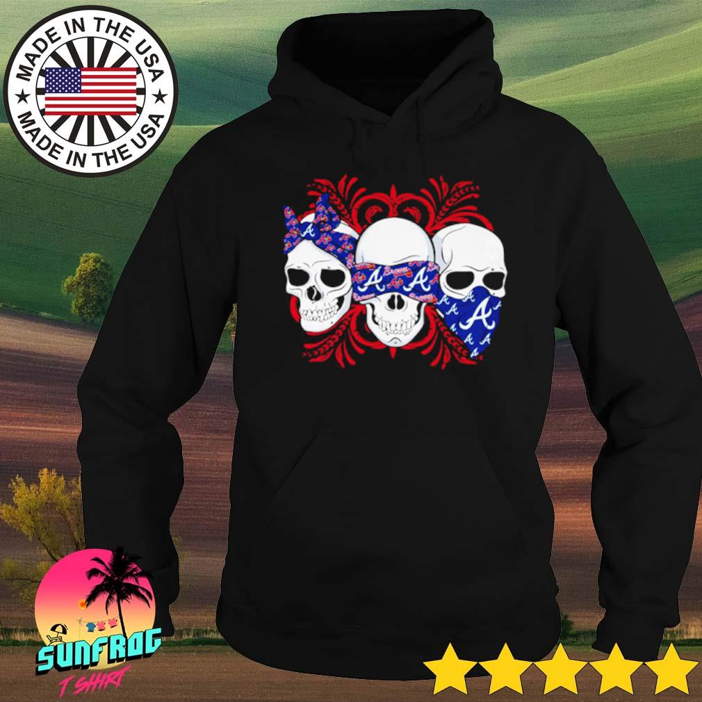 Skull wearing bandana Atlanta Braves s Hoodie Black