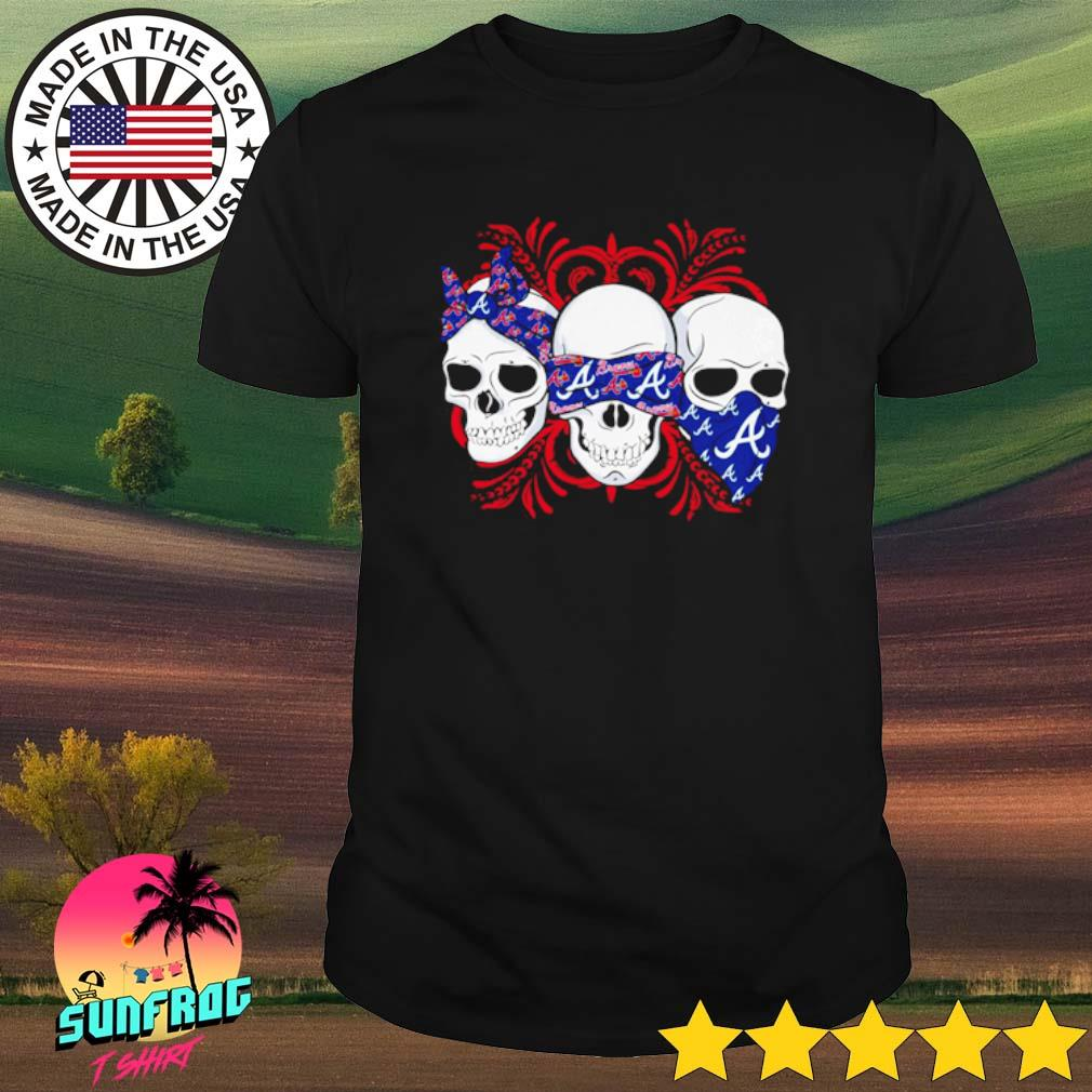Skull wearing bandana Atlanta Braves shirt