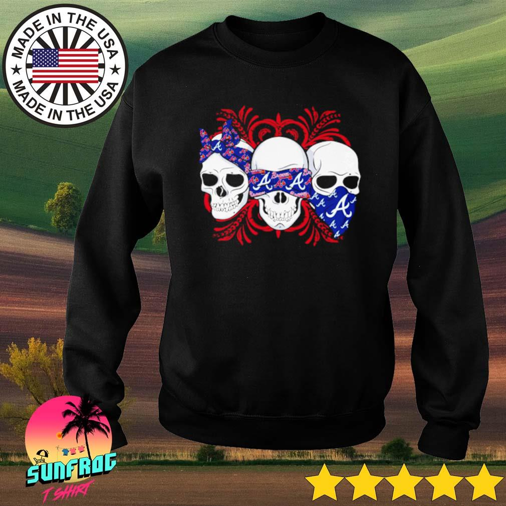Skull wearing bandana Atlanta Braves s Sweater Black