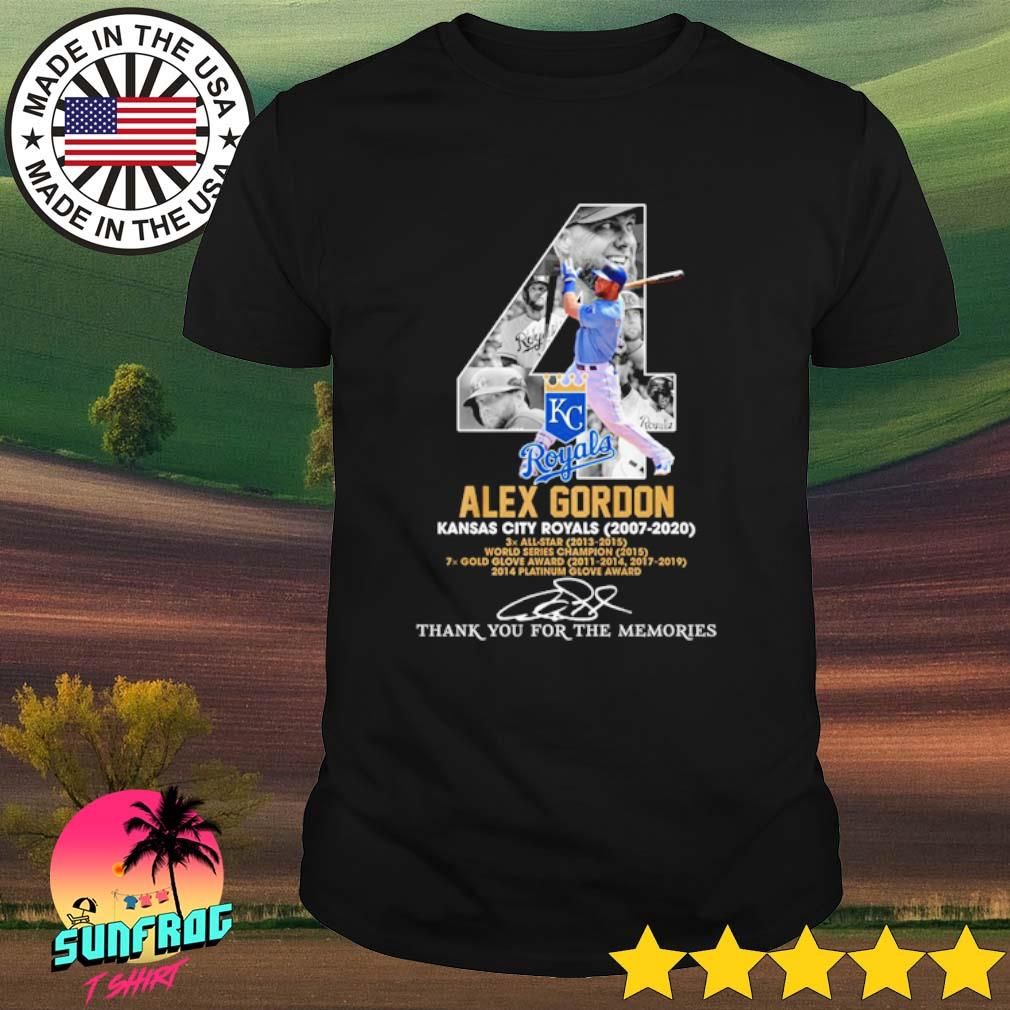 4 Alex Gordon Kansas City Royals 2007-2020 thank you for the memories signature shirt