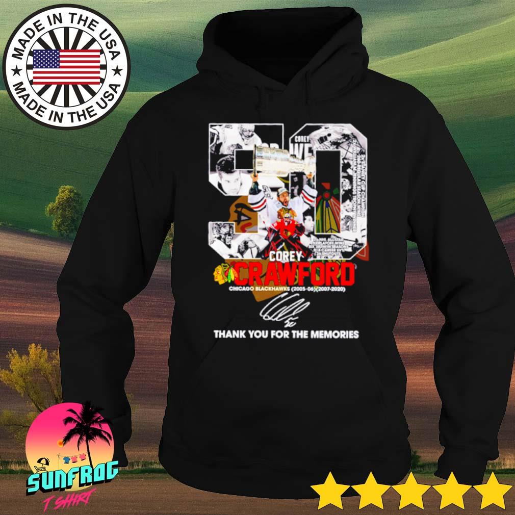 50 Corey Crawford Chicago Blackhawks 2005-2020 thank you for the memories signature s Hoodie