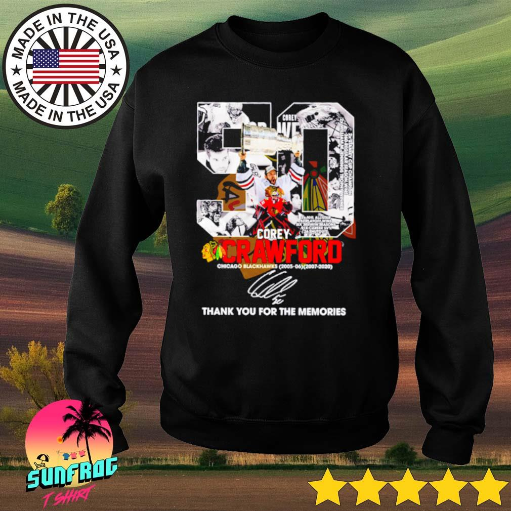 50 Corey Crawford Chicago Blackhawks 2005-2020 thank you for the memories signature s Sweater