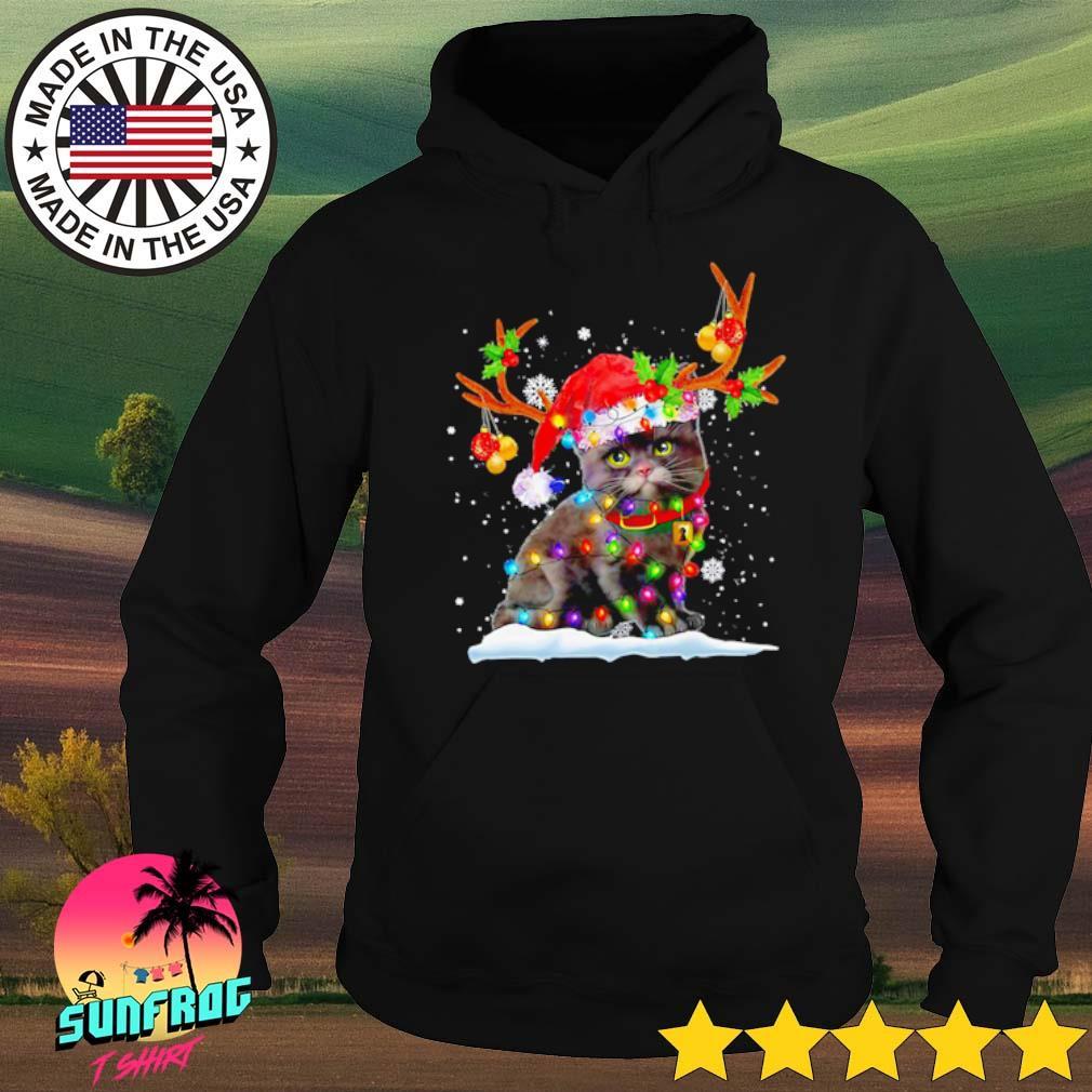 Black cat Santa hat snow reindeer Christmas sweater Hoodie