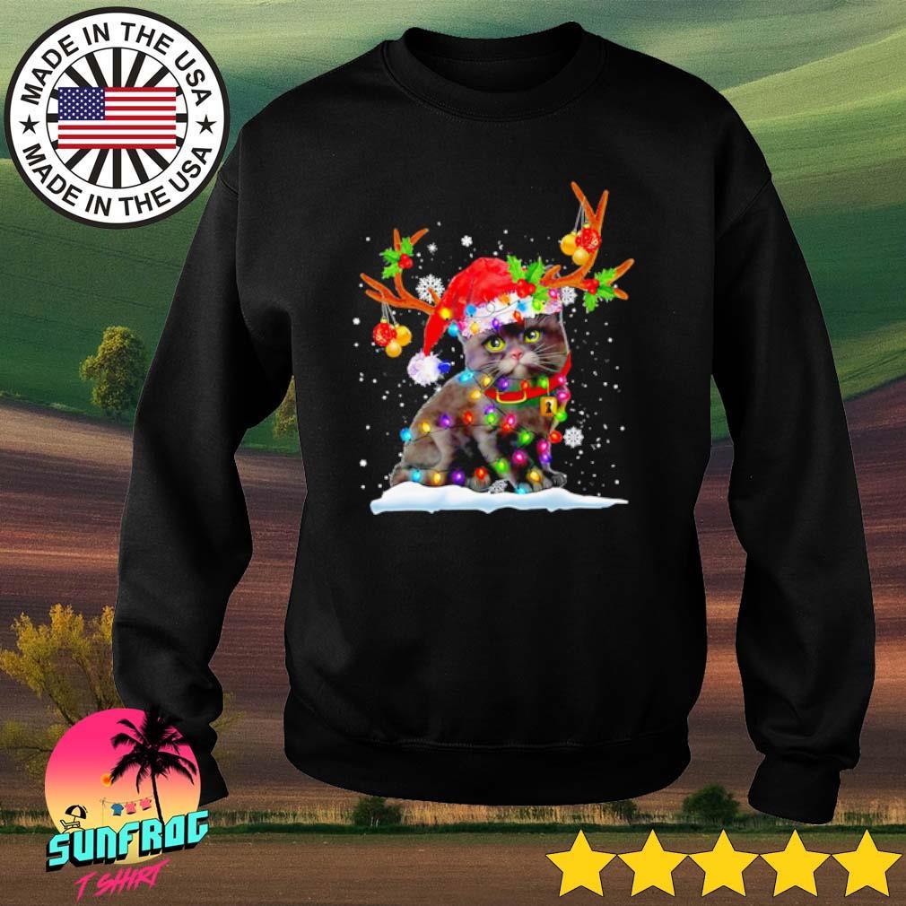 Black cat Santa hat snow reindeer Christmas sweater