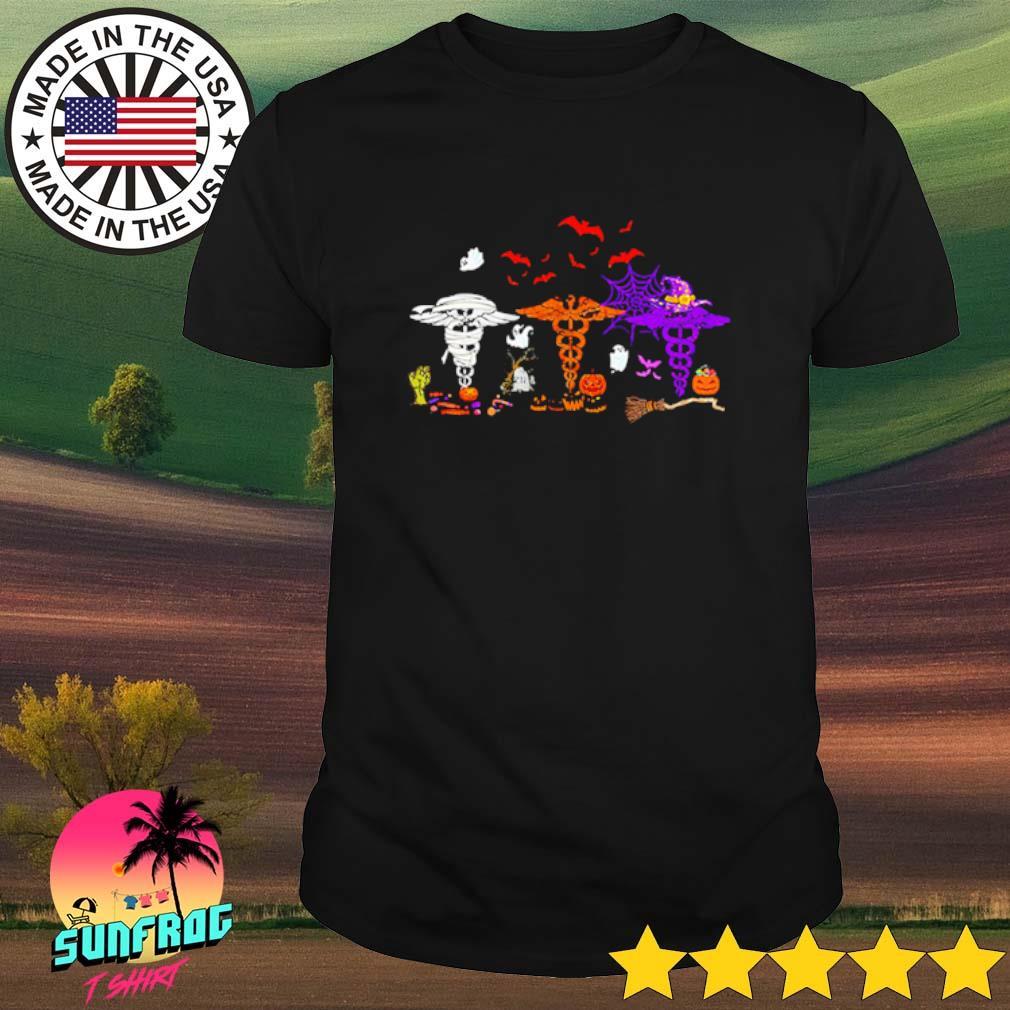 Caduceus witch white orange and purple Halloween shirt