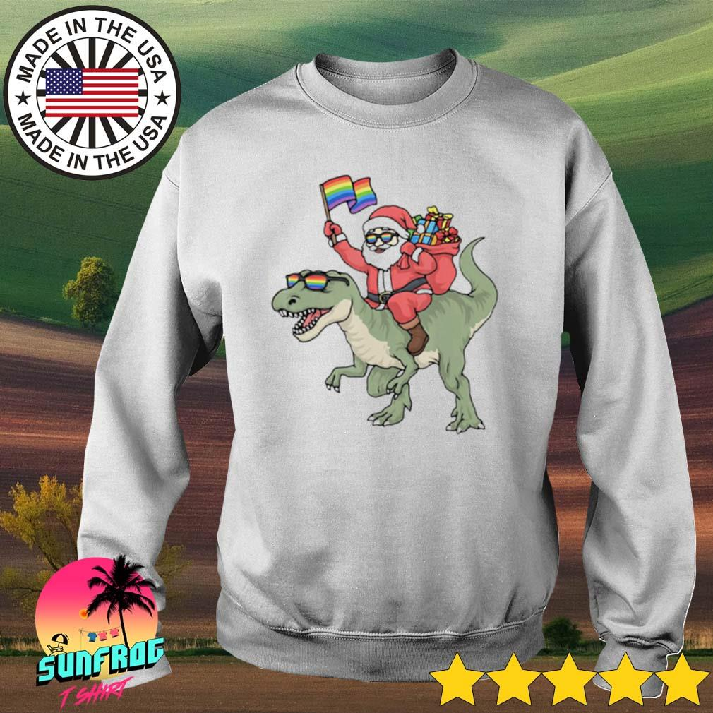 Christmas LGBT Santa Claus Trex rainbow gay pride sweater