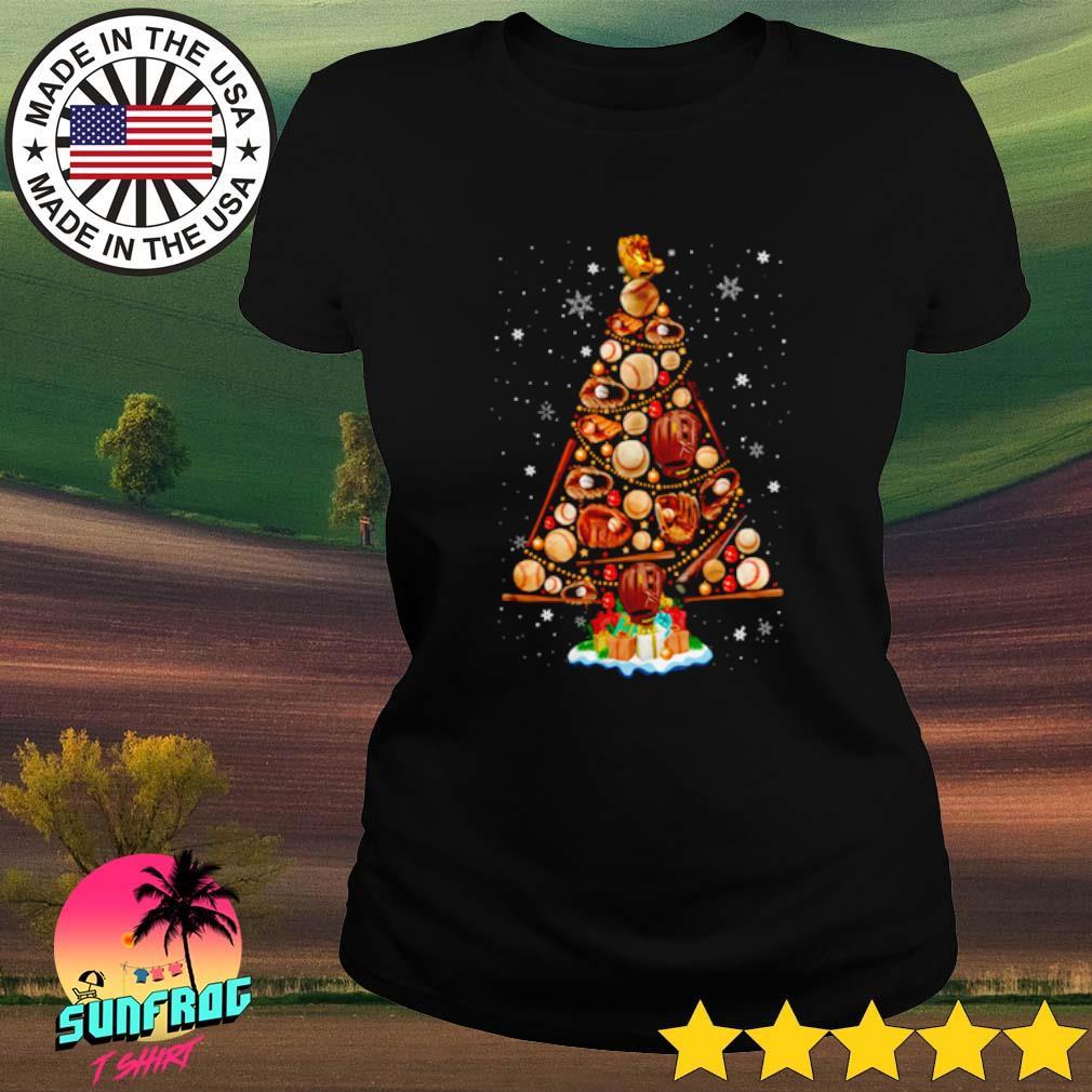 Christmas tree baseball s Ladies Tee Black