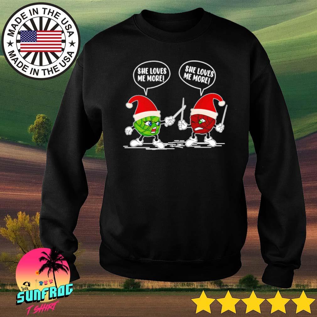Crochet vs knitting she loves me Santa hat Christmas sweater