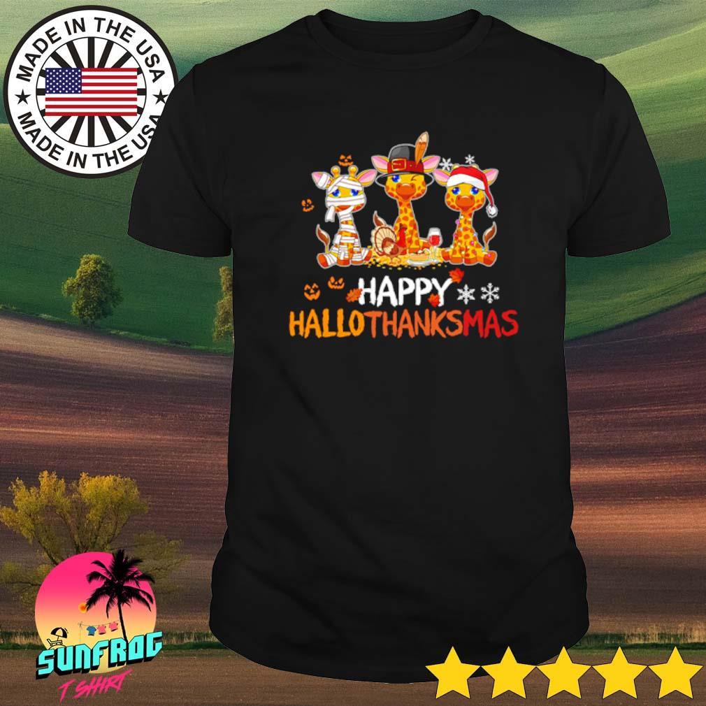 Giraffe happy Hallothanksmas shirt
