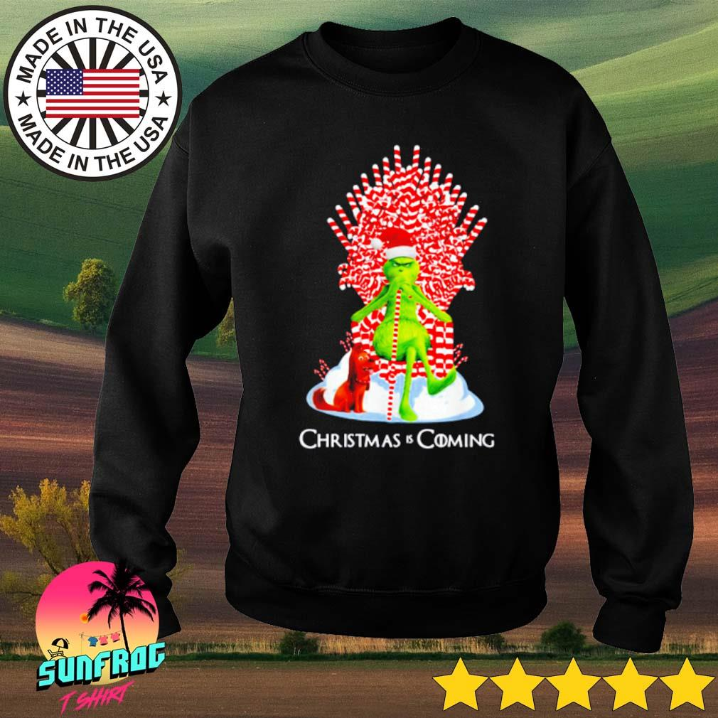 Grinch and guard dog scene Christmas is coming sweater