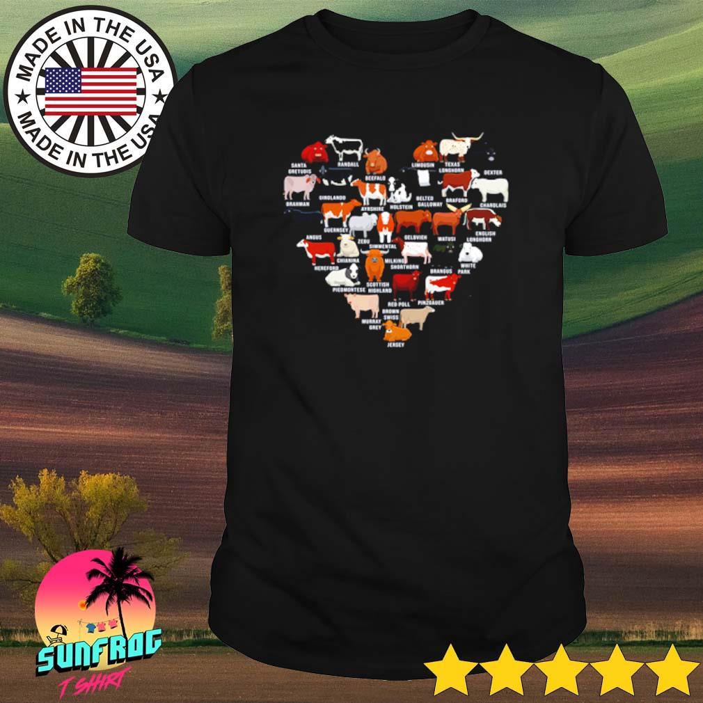 Heart love cows Zebu Red Poll Jersey White park shirt